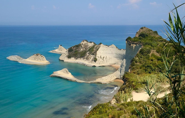 Wallpaper sea shore rock beach Corfu Corfu images for desktop 1332x850