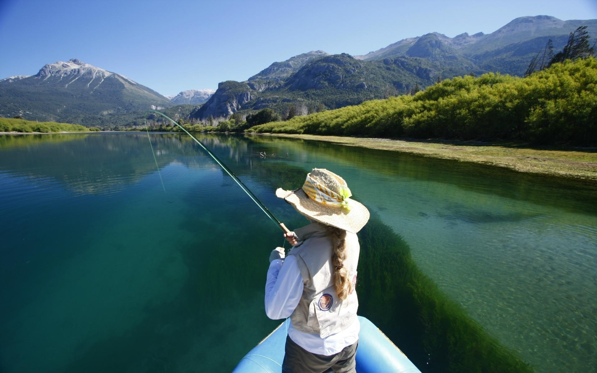 sprts fishing landscapes lakes rivers boats mountains mood people 1920x1200
