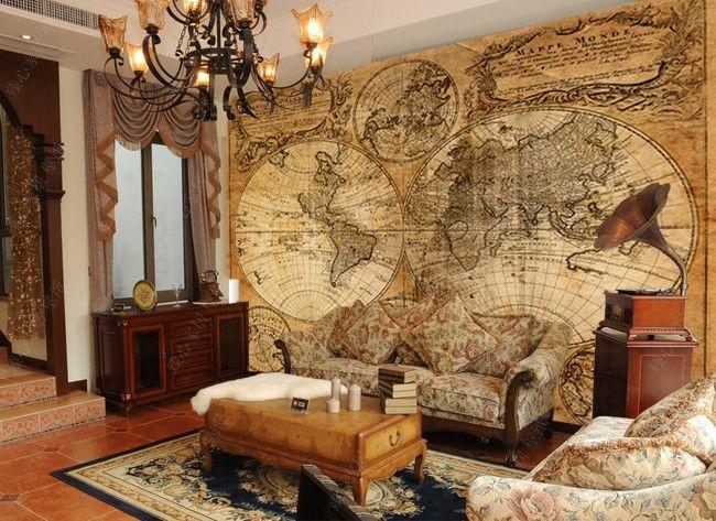 Old World Map Murals Wallpaper WallpaperSafari - Old world map wallpaper for walls