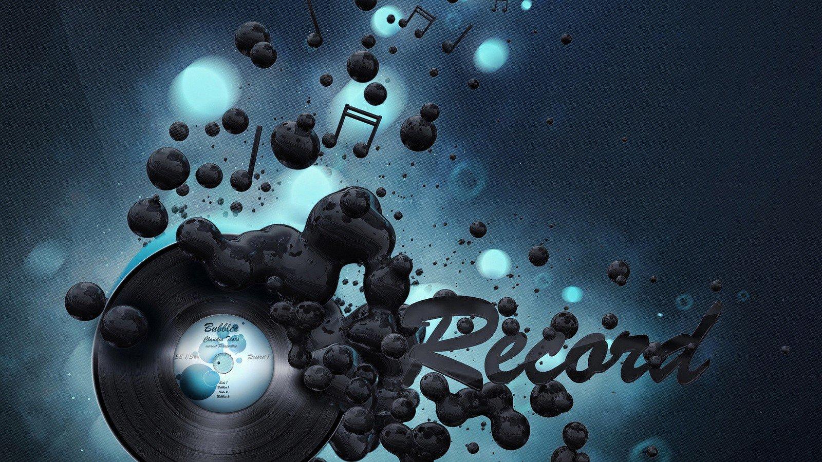 Abstract music record vinyl sound digital art wallpaper 1600x900 1600x900