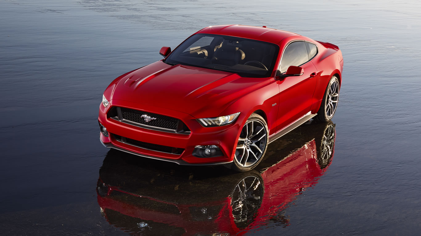 2015 Ford Mustang GT Wallpaper   1366 x 768 Race Red color front 1366x768