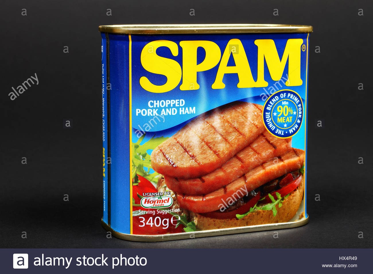 Hormel tinned Spam chopped pork and ham luncheon meat isolated on 1300x956