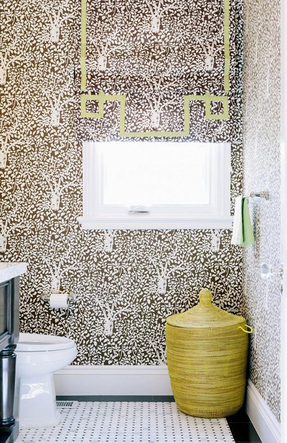 bathroom brown white wallpaper chloe warner 570x878