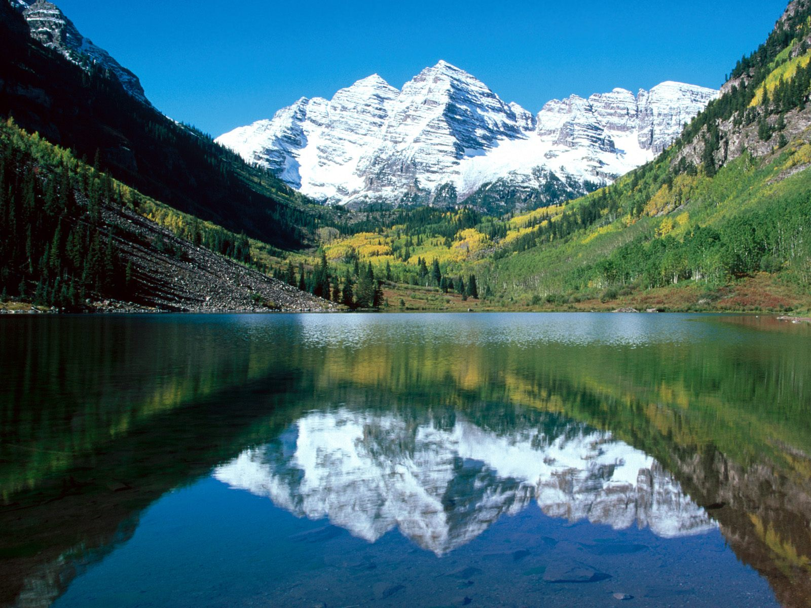 snow capped maroon bells white river national forest colorado 1600x1200