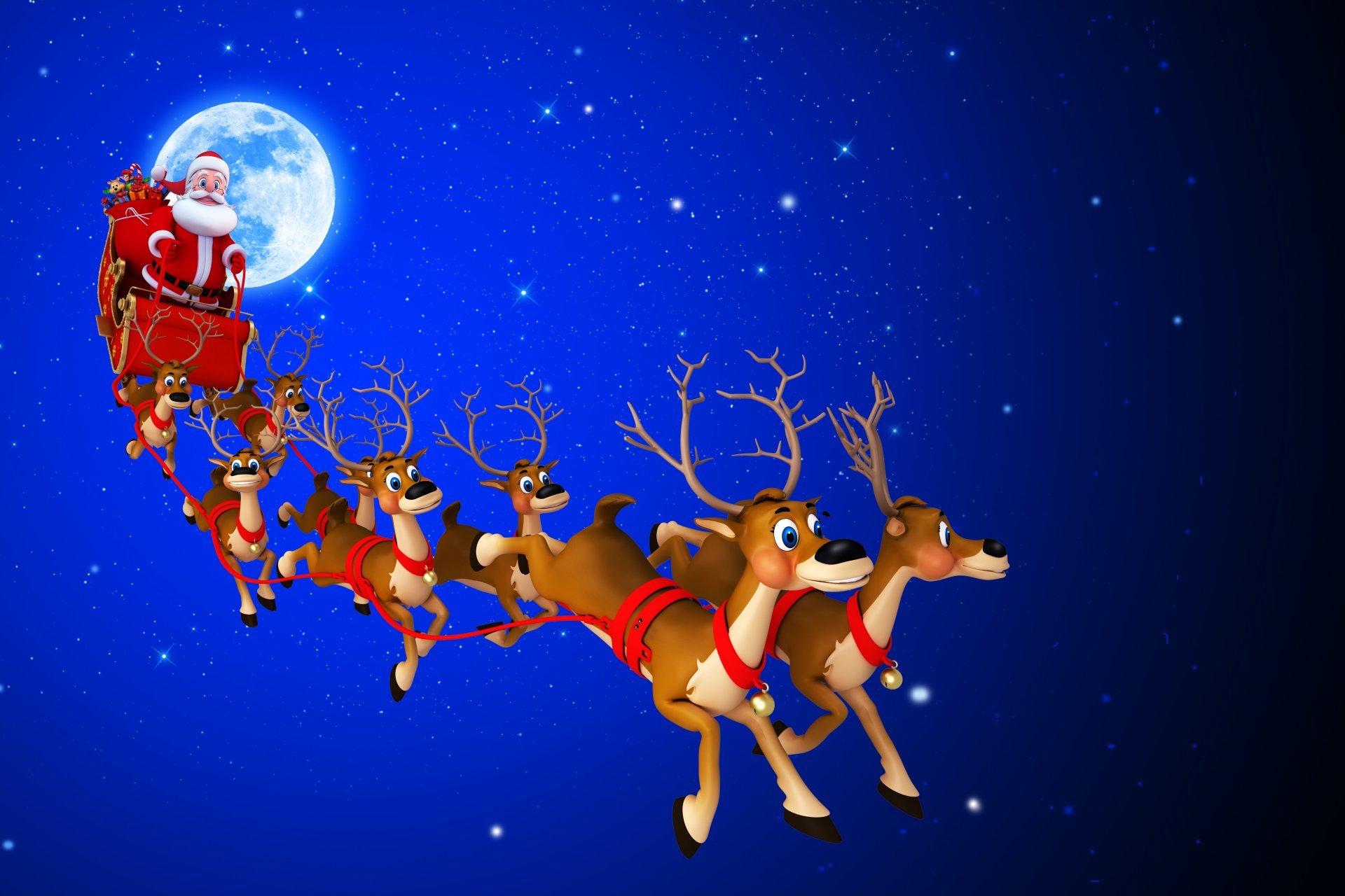 29 Santa S Sleigh In The Sky Wallpapers On Wallpapersafari