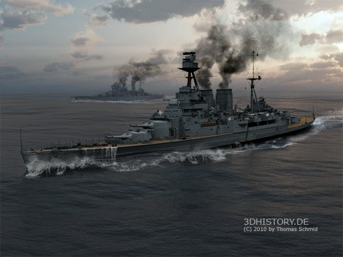 Short after sunrise HMS Hood and HMS Prince of Wales running high 500x375