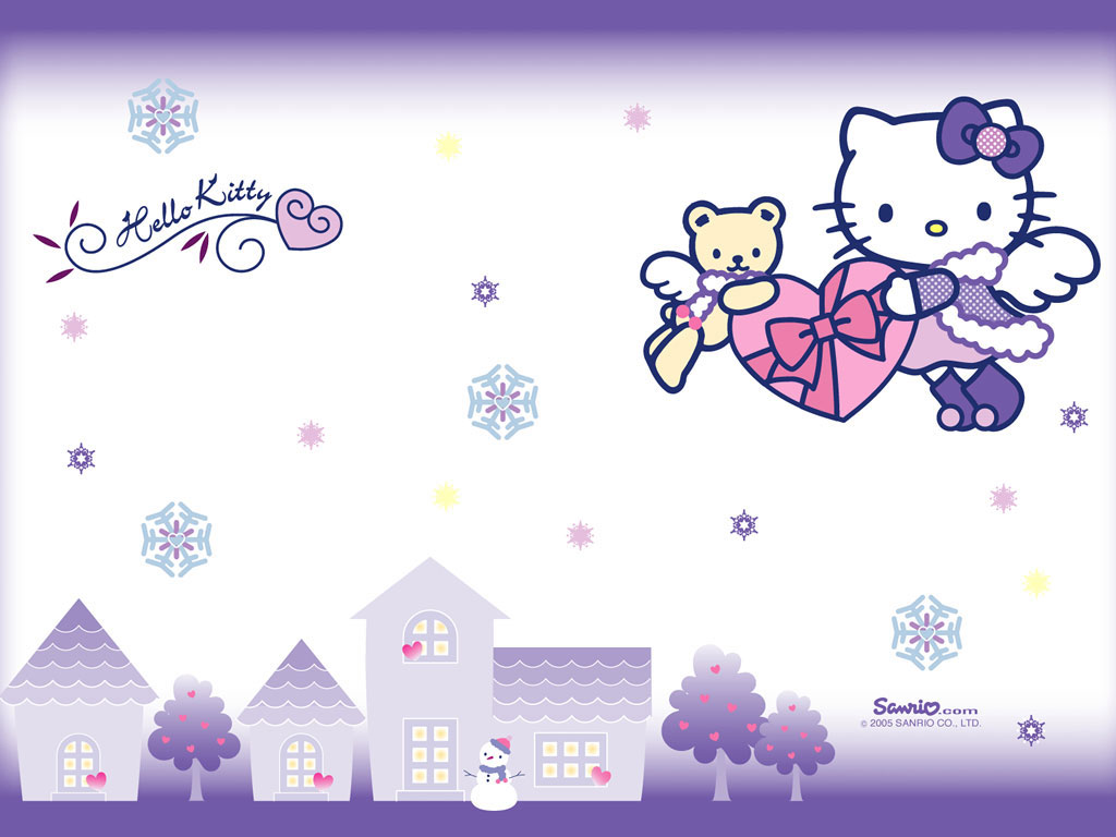 Hello Kitty with snowflakes wallpaper from kawaiiwallpaperscom 1024x768