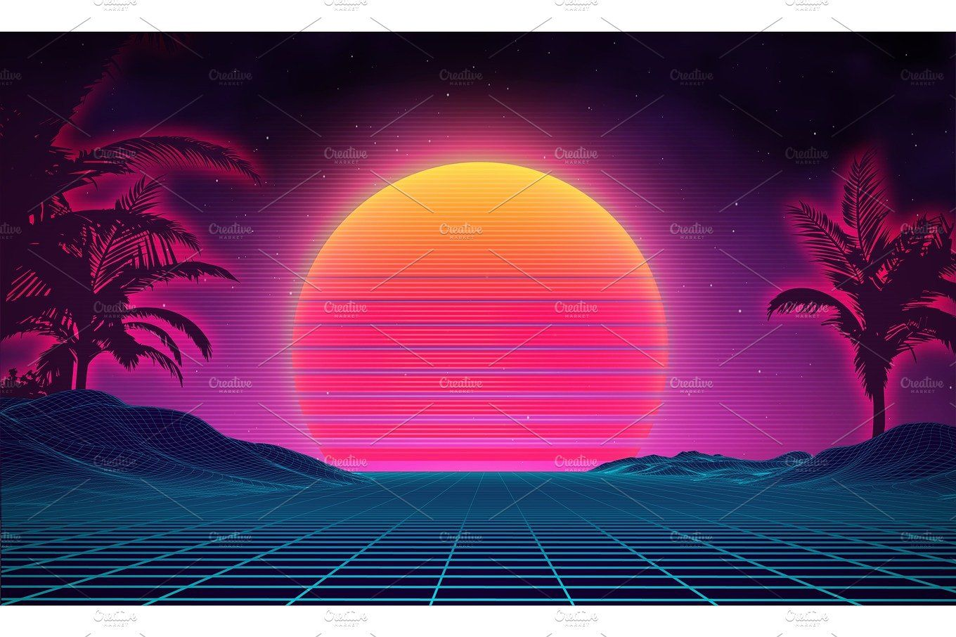 Retro background futuristic landscape 1980s style Digital retro 1360x906