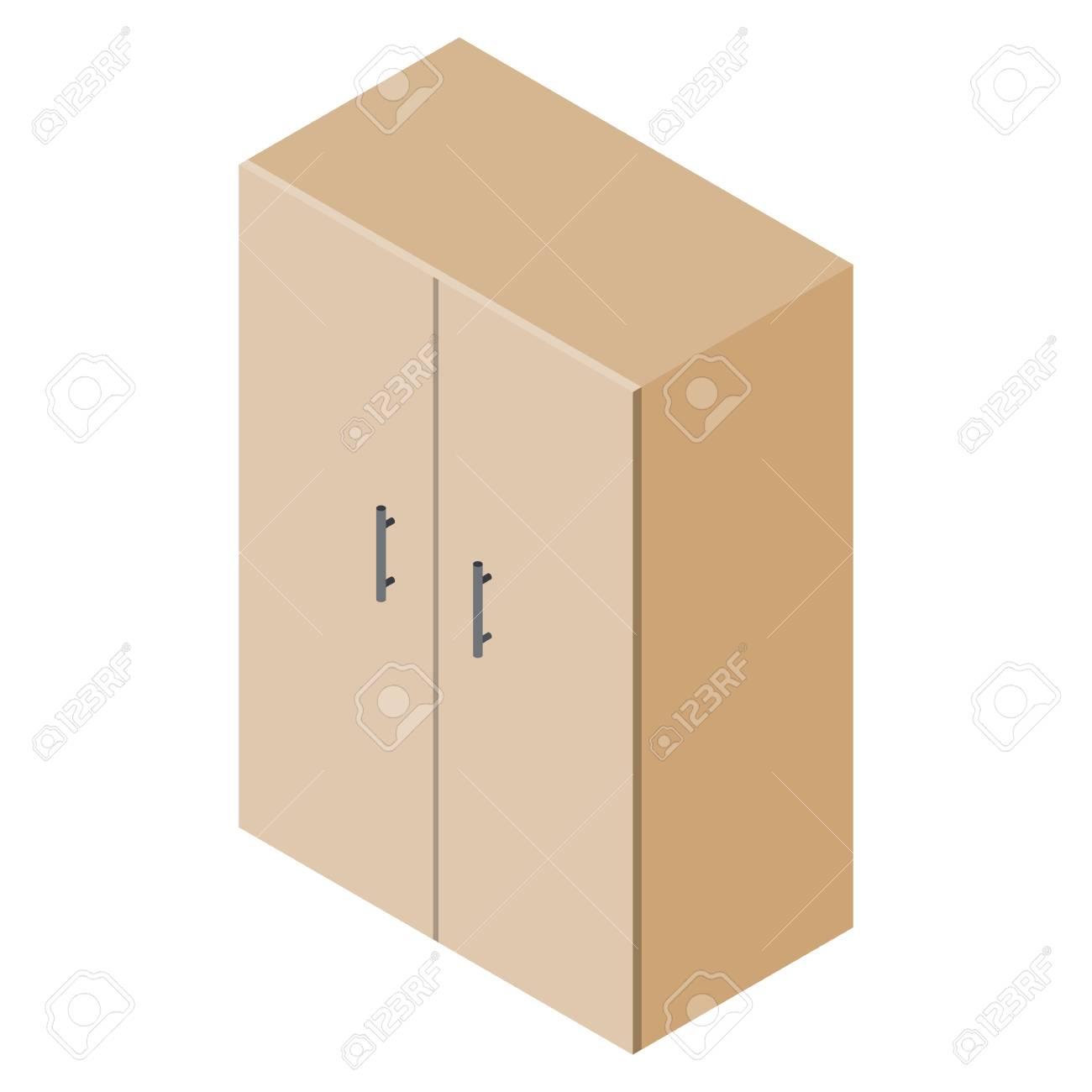 Isometric Cupboard Wardrobe Isolated On White Background Royalty 1300x1300