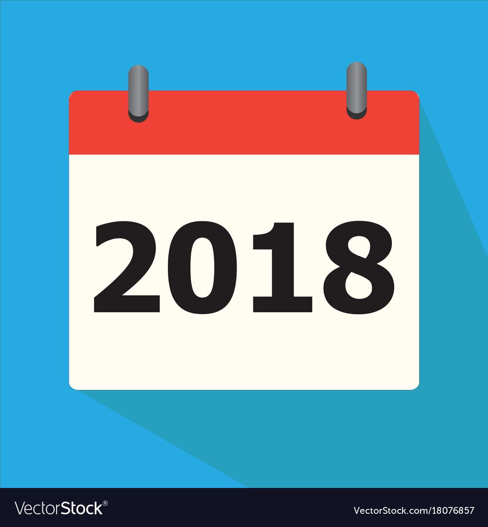 Calendar 2018 icon on blue background calendar Vector Image 1000x1080