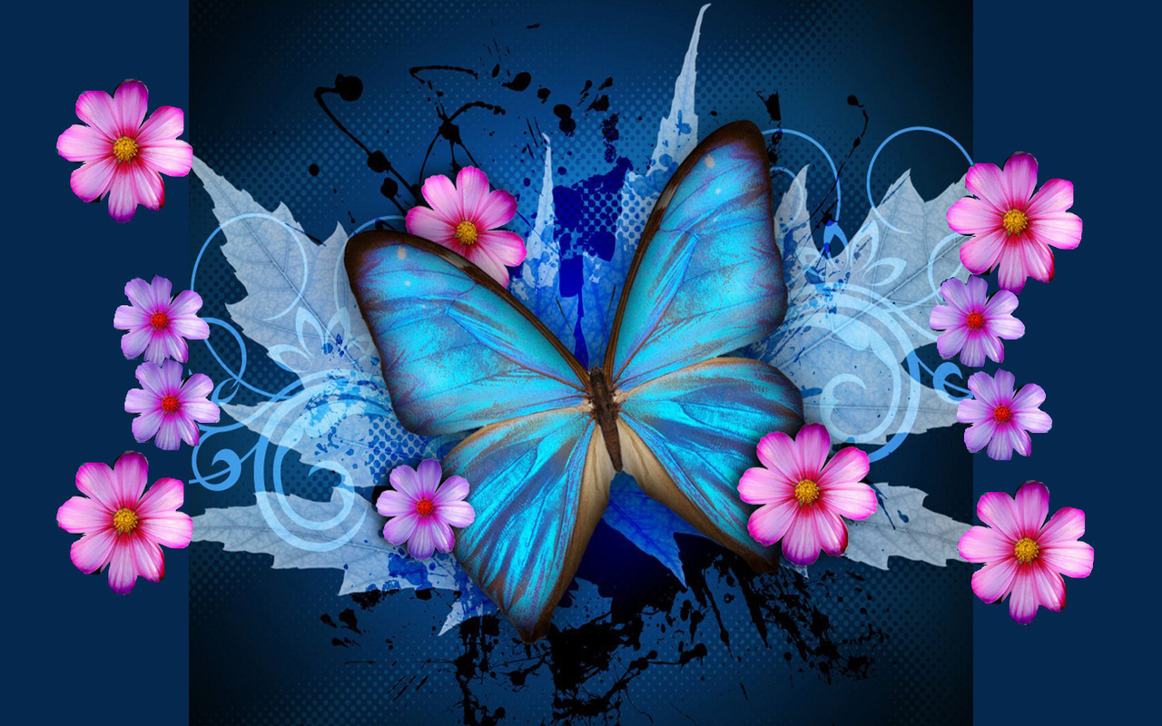Download Blue Butterfly Galaxy Wallpaper 1280x800 Full HD Wallpapers 1280x800