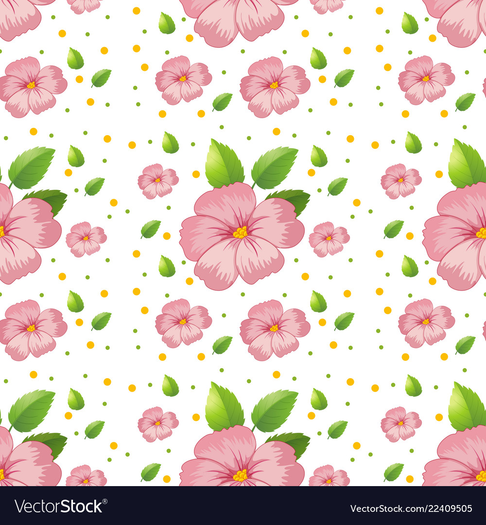 Seamless pink hibiscus wallpaper Royalty Vector Image 1000x1080