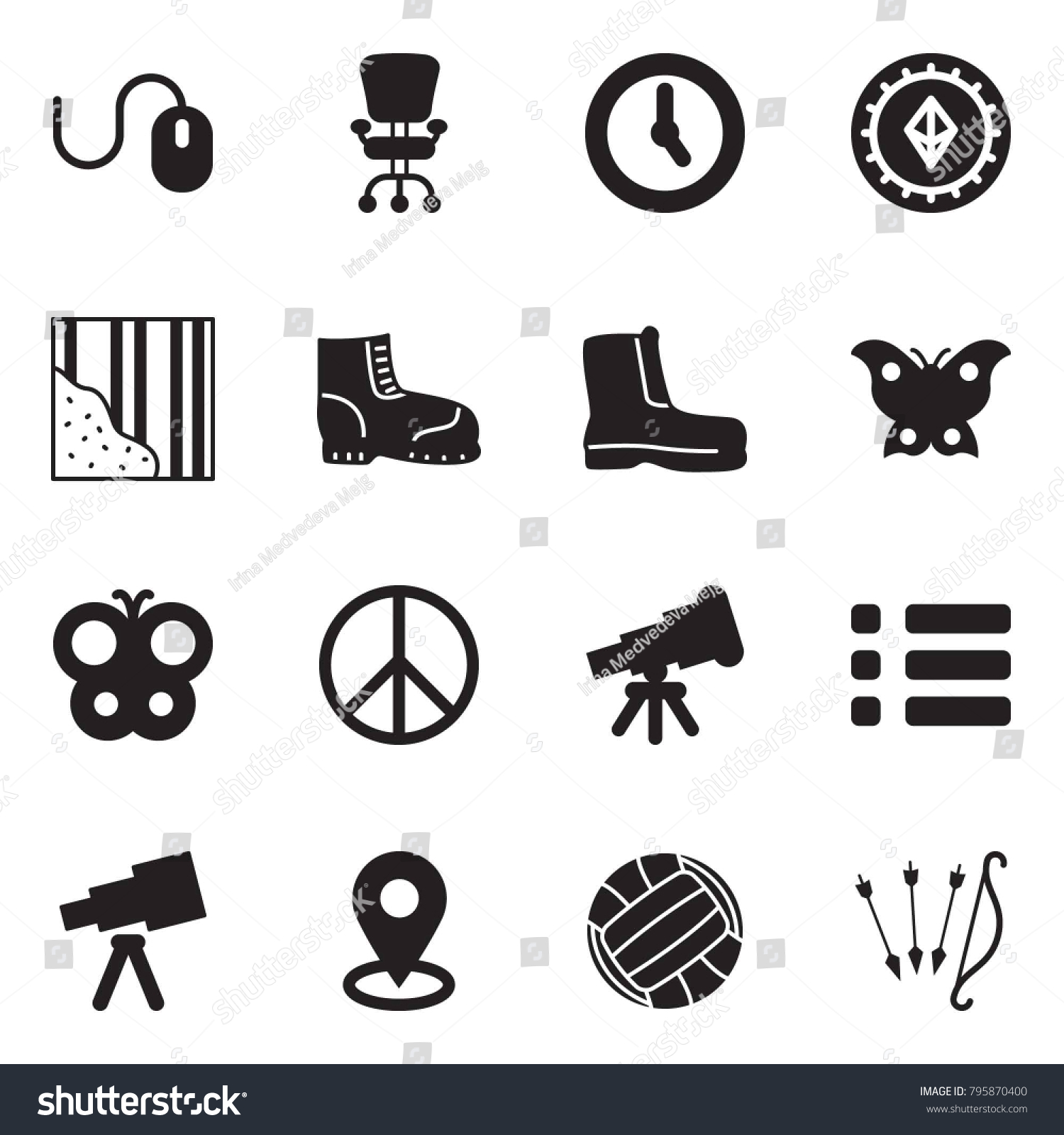 Solid Black Vector Icon Set Mouse Stock Vector Royalty 1500x1600