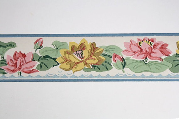 Full Vintage Wallpaper Border  TRIMZ   Pink and Yellow Water Lillies 570x380