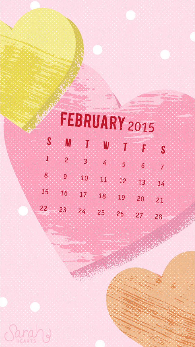 February 2015 Calendar Wallpaper   Sarah Hearts 640x1136