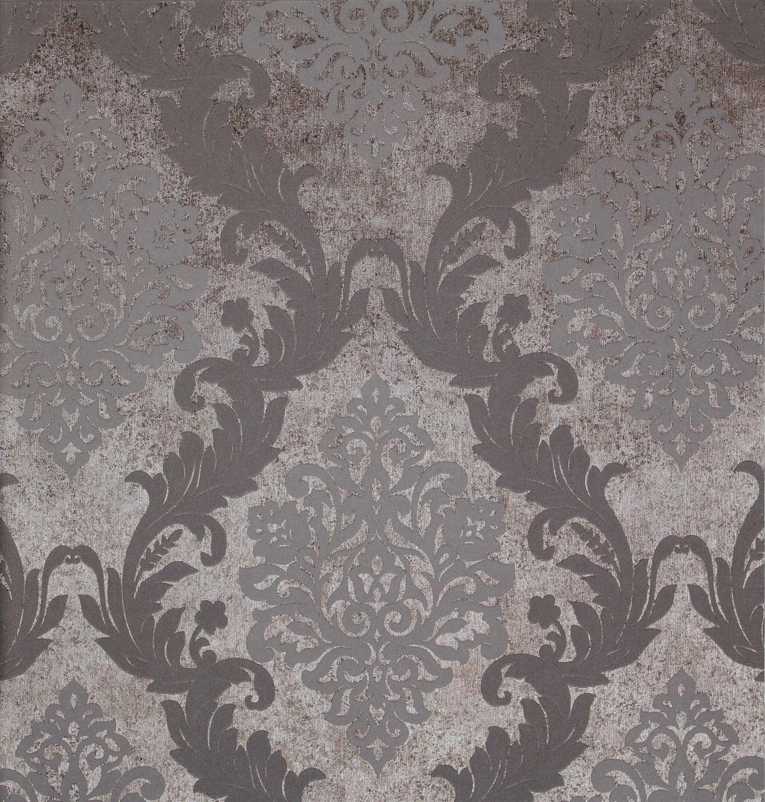 Grey Silver Damask Embossed Texture Background Vinyl Wallpaper eBay 1527x1600