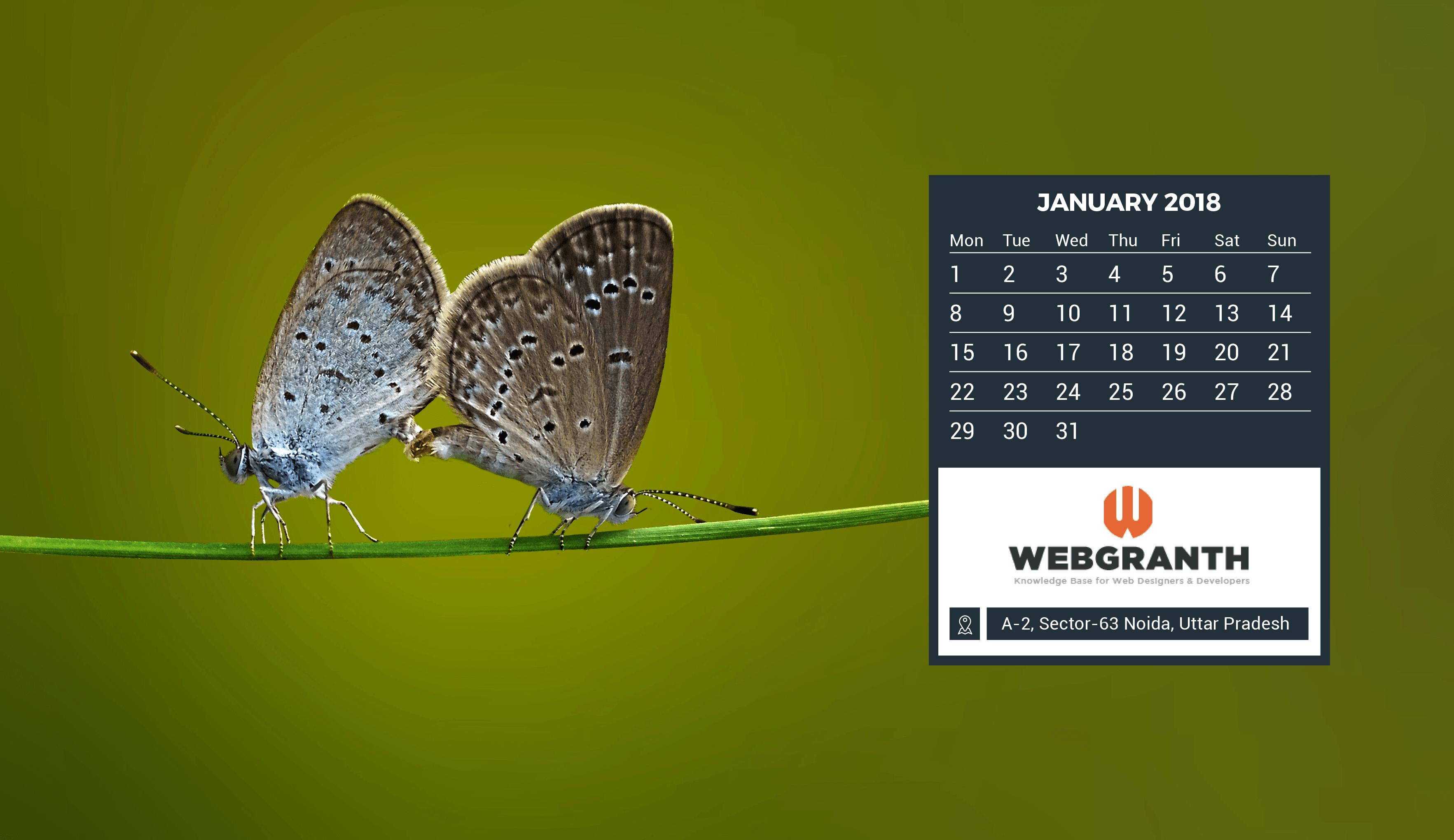 January 2018 Calendar Wallpaper View HD Image of January 3530x2040