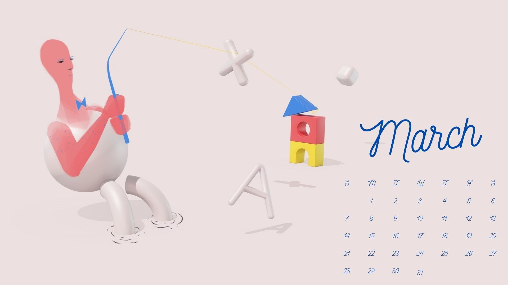 March 2021 Calendar HD Wallpaper with beautiful font and cute 1920x1080