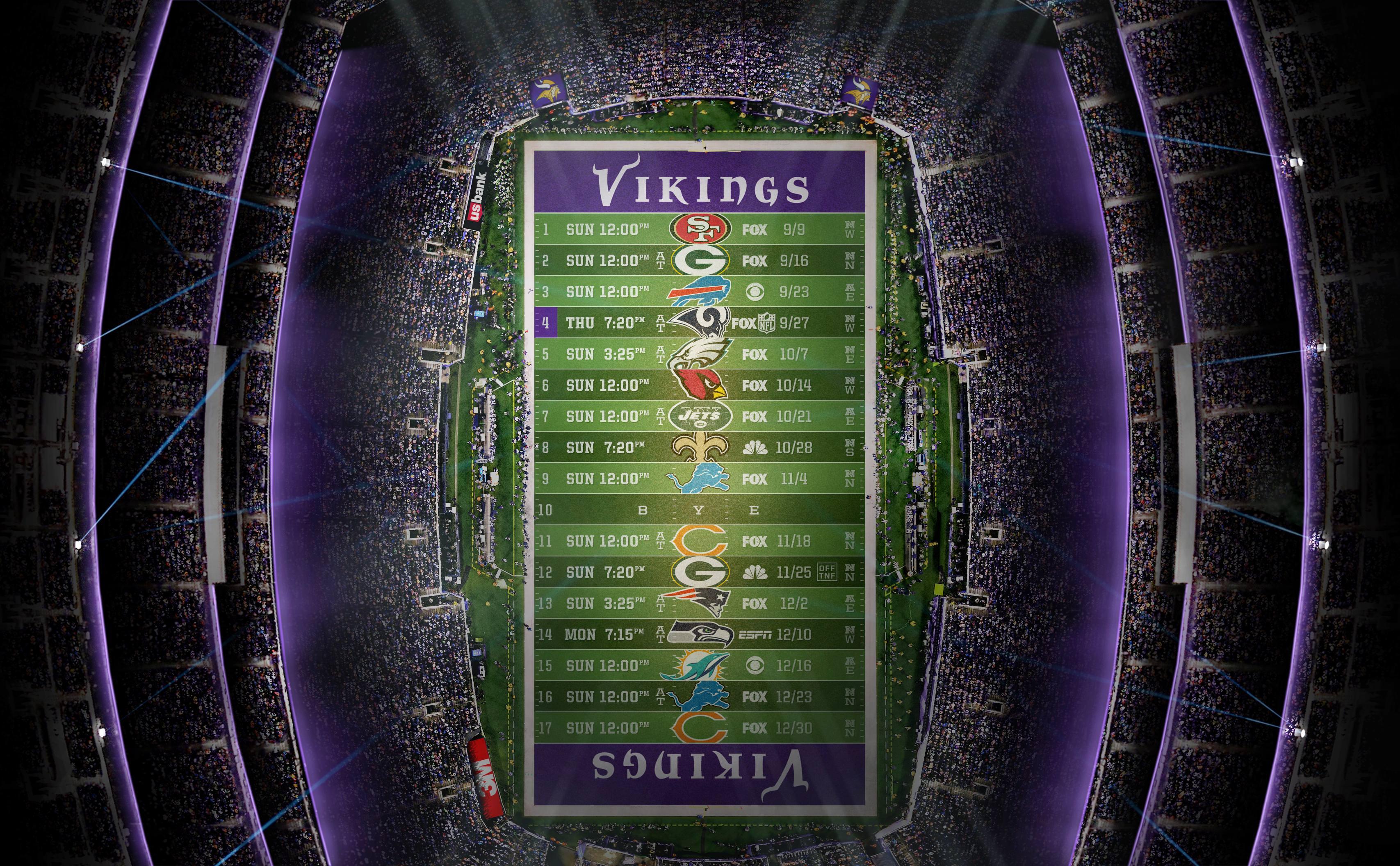 2018 Minnesota Vikings Stadium Schedule Wallpaper minnesotavikings 3414x2112