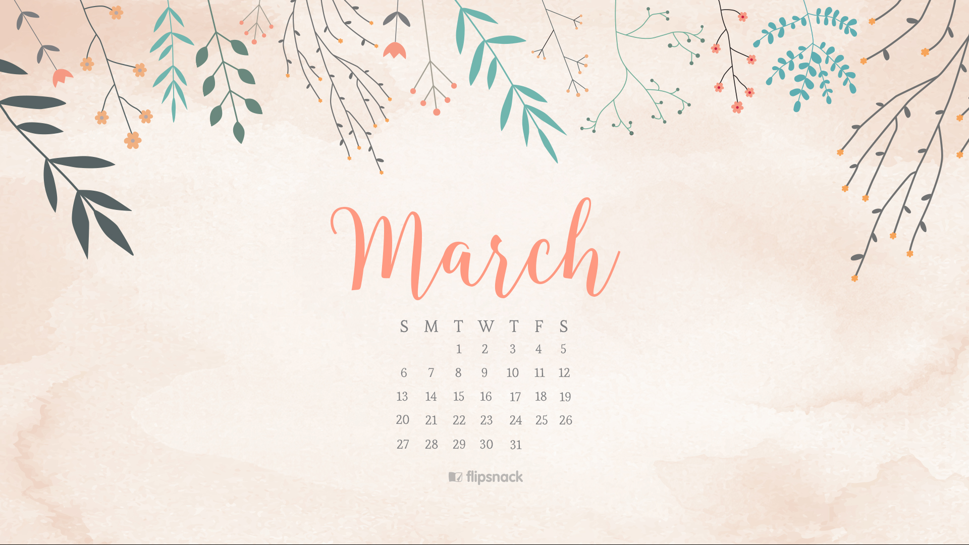 March 2016 calendar wallpaper desktop background 1920x1080