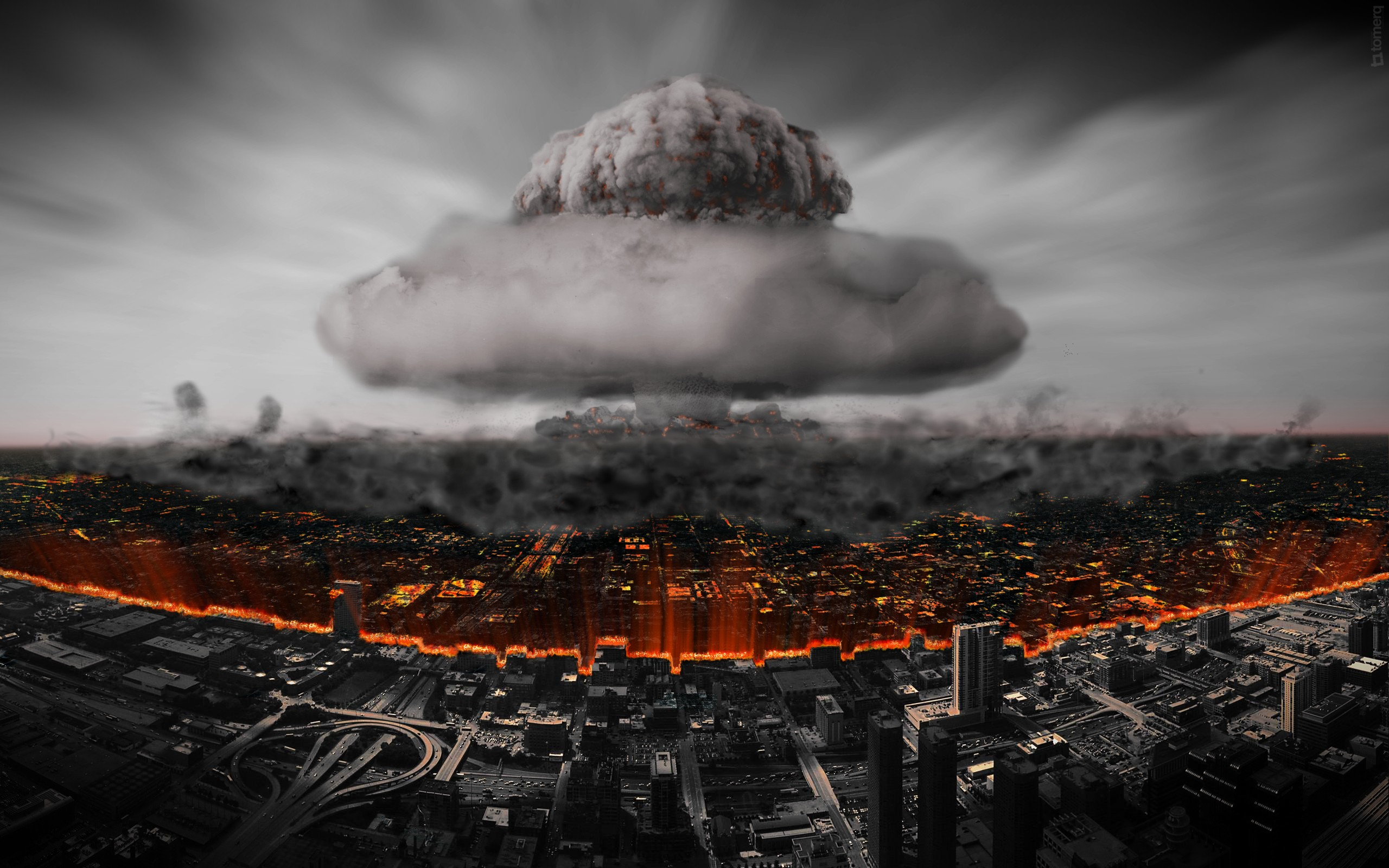 Nuclear Atomic Bomb Explosions Armageddon Buildings Wide Wallpaper 2560x1600