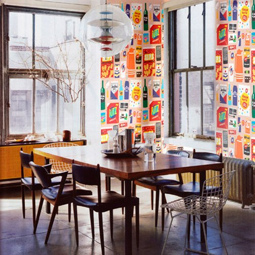 Funky wallpaper for home wallpapersafari for Quirky dining room ideas