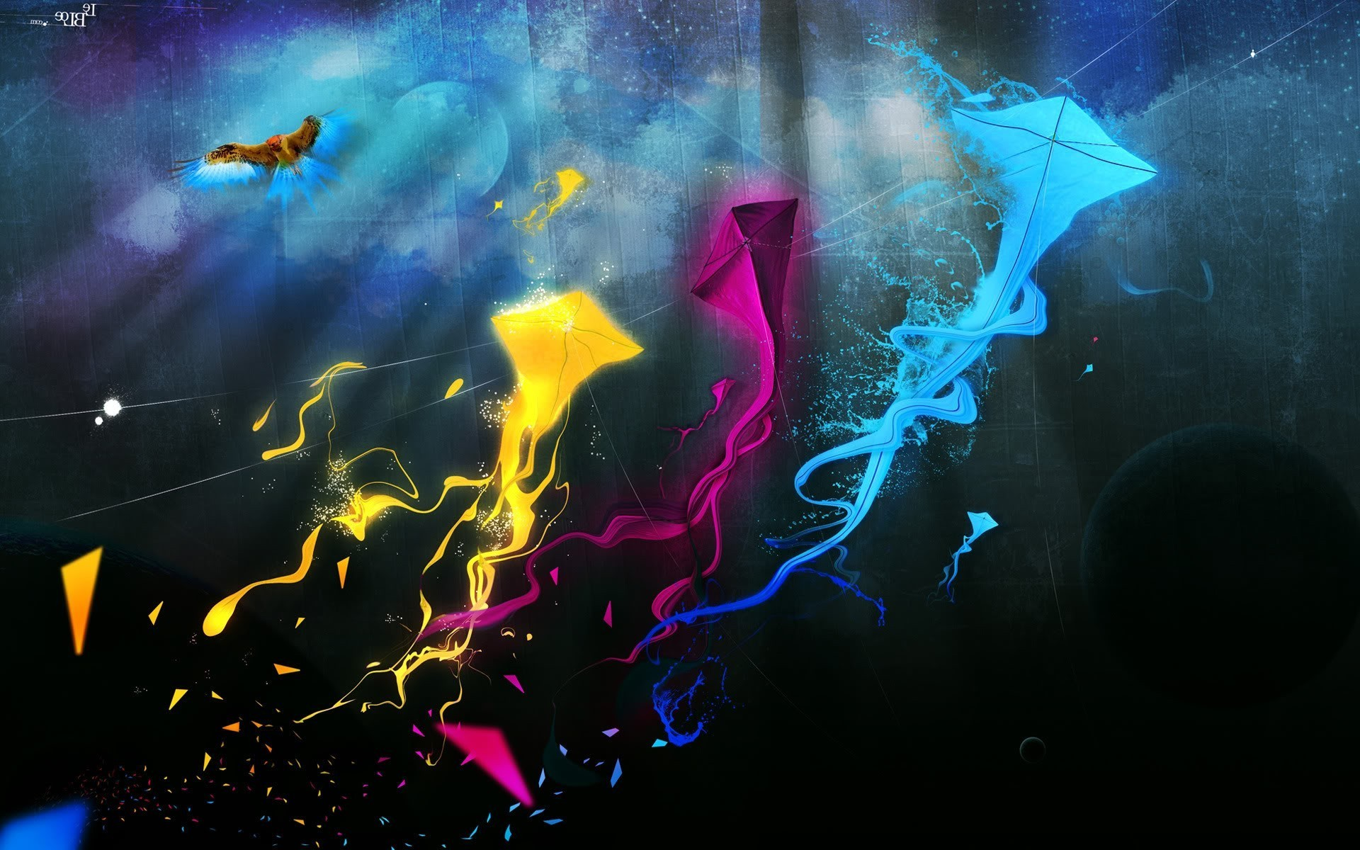 fantasy Art Kites Streaks CMYK Wallpapers HD Desktop 1920x1200
