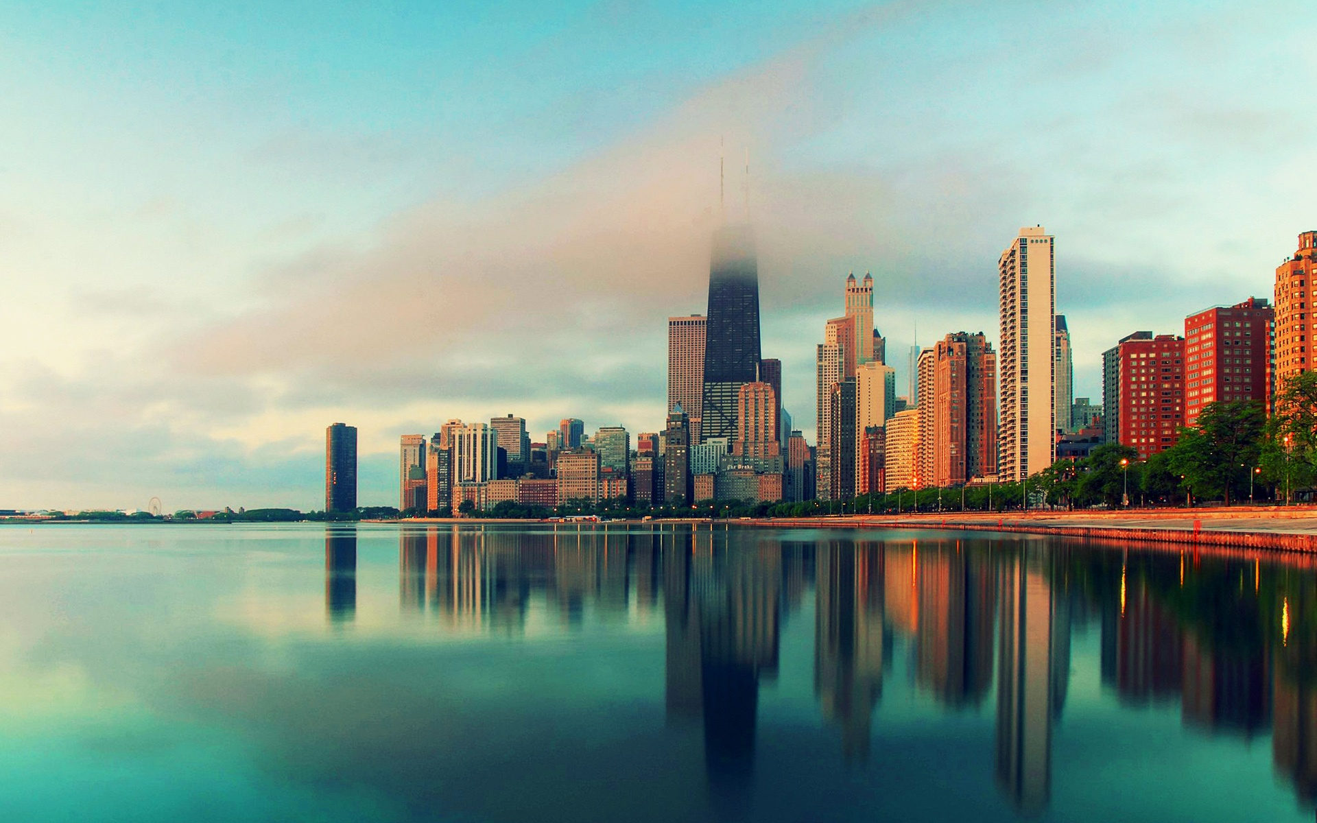 Chicago Illinois city skyscrapers water fog Wallpaper 1920x1200