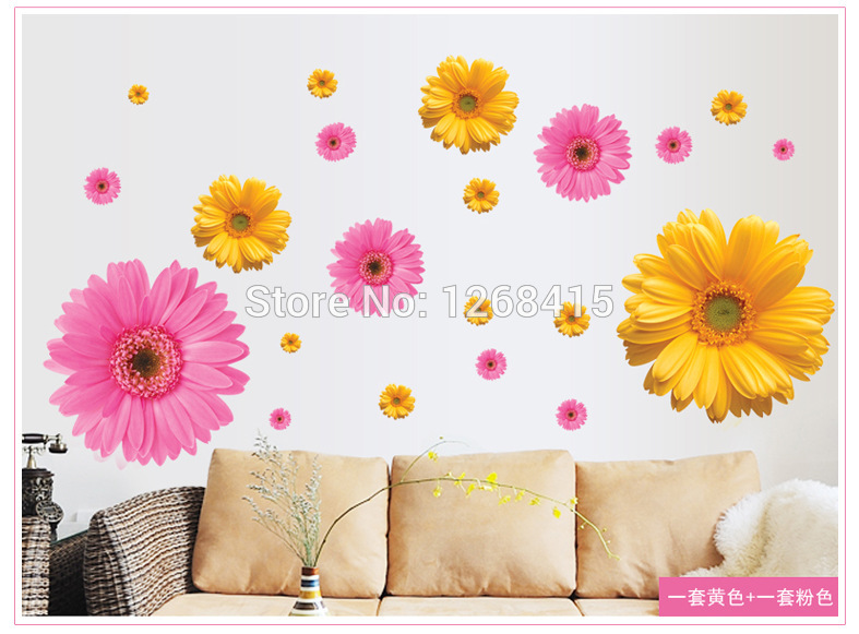 Brand New Daisy Wallpaper 2014 new 3 colors flower wall sticker for 787x581