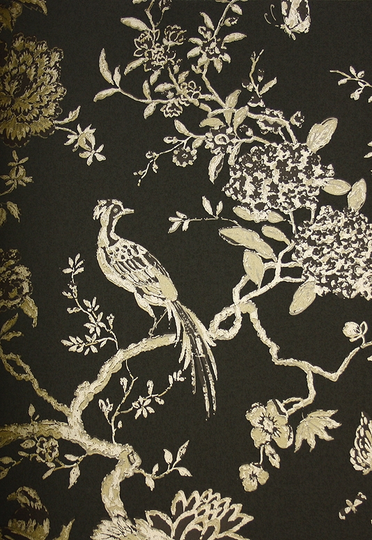 Beautiful bird and branch design wallpaper in metallic gold on black 534x775