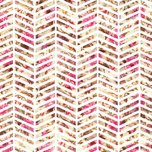 Pink Vintage Floral Girly Chevron Zig Zag Pattern Art Print by Railton 600x600