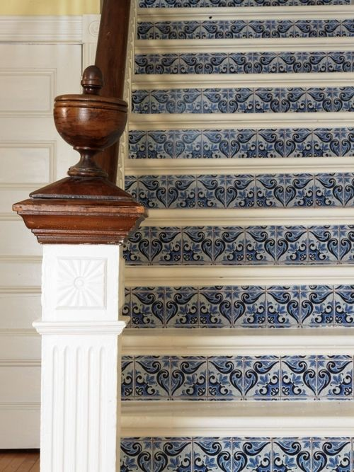 Looks like Mexican tile on the stair risers but I used wallpaper 500x667
