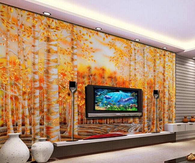 large wallpaper Custom wallpaper Golden eagles birch color mural wall 649x542