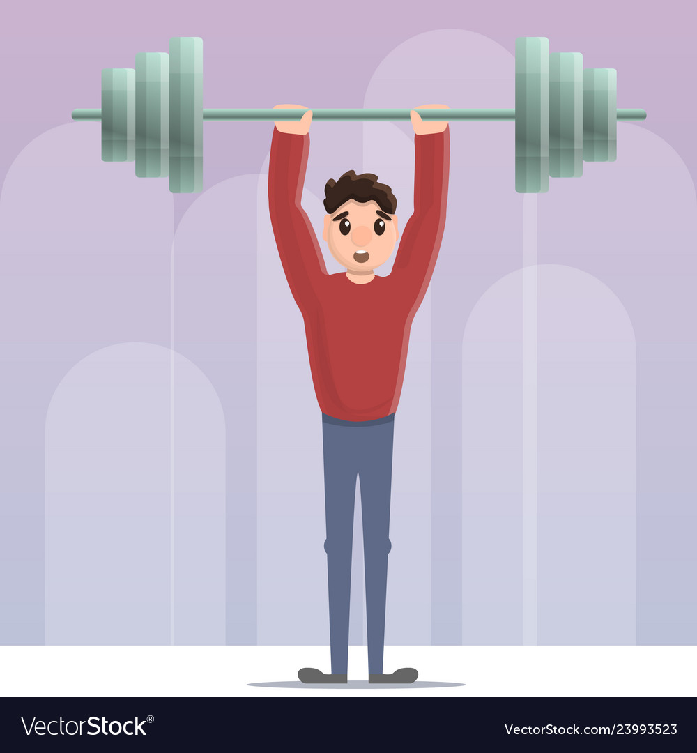 Sportsman dumbbell up concept background cartoon Vector Image 1000x1080