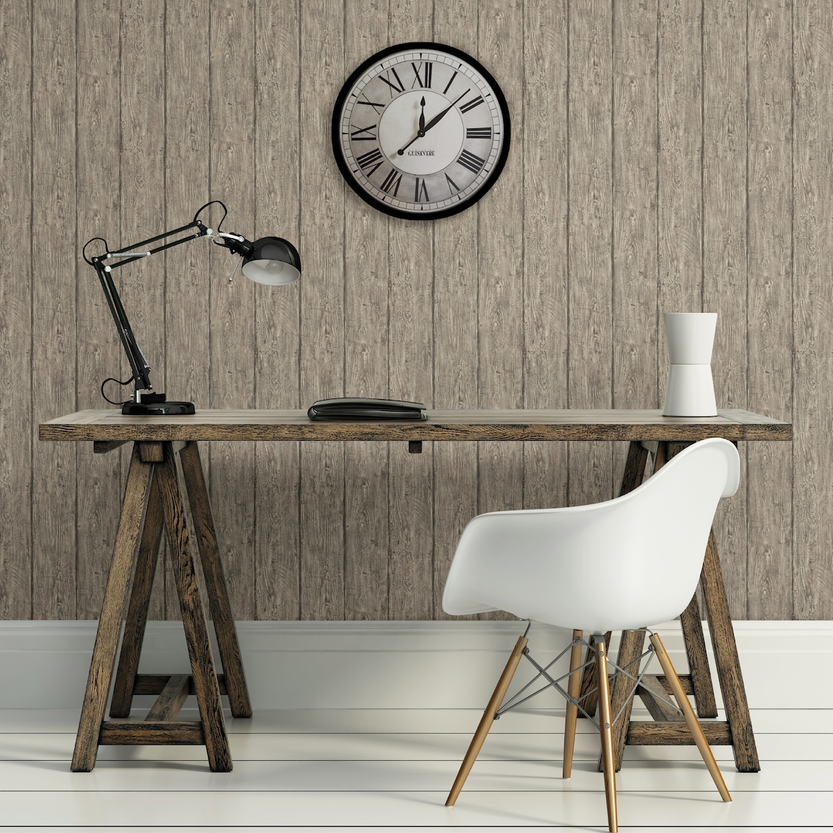 of reclaimed wood with this stylish faux wood wallpaper by Chesapeake 1200x1200