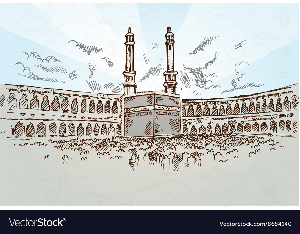 Mecca background drawing Royalty Vector Image 1000x780