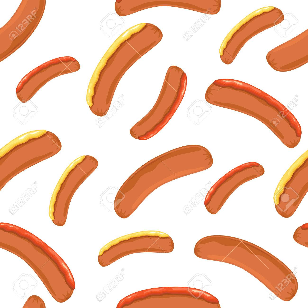 Seamless Wallpaper With Sausages Mustard And Ketchup On White 1300x1300