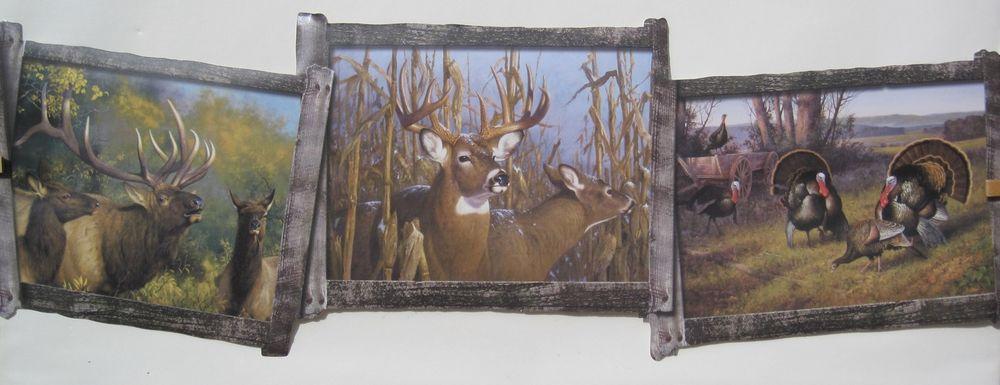 Deer Elk and Turkeys Hunting Wallpaper Border 8 1 2 eBay 1000x385