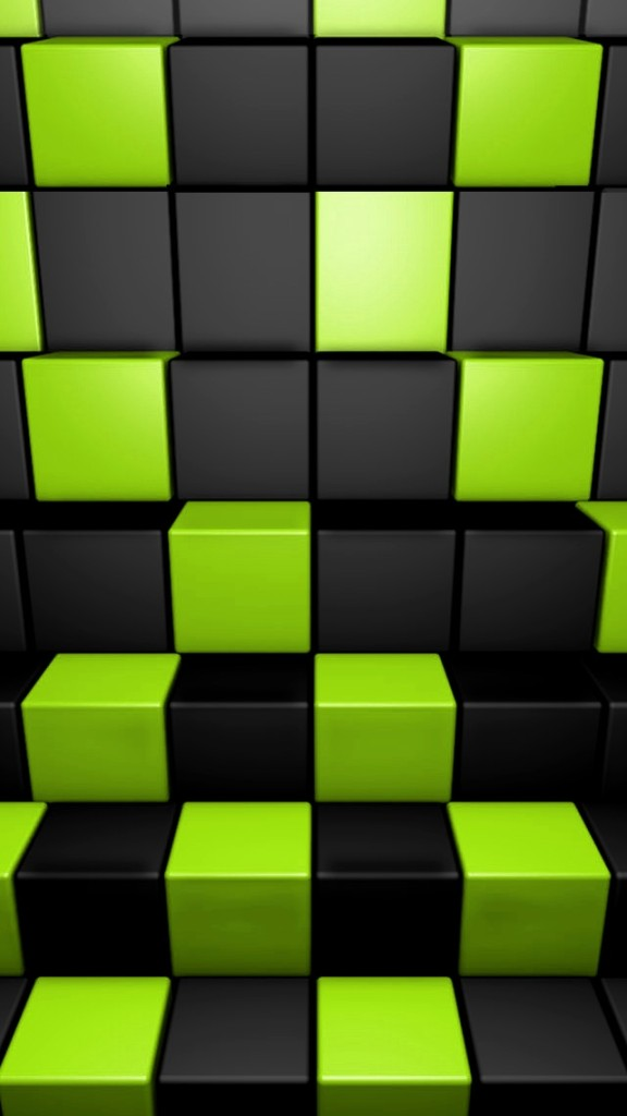 3D Green and Dark Cubes Wallpaper   iPhone Wallpapers 576x1024