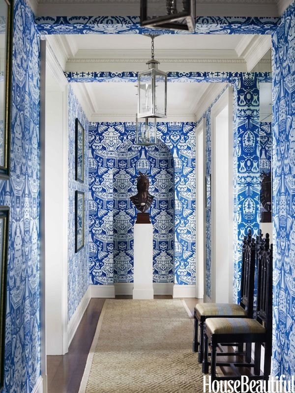 Clarence house tibet wallpaper wallpapersafari for Blue wallpaper for home