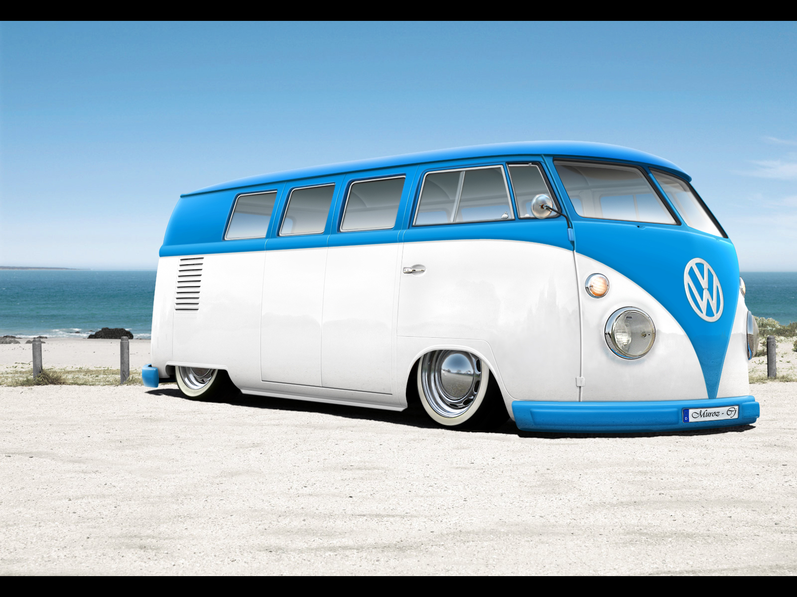 vw volkswagen combi van bus lowered wallpaper 1600x1200 1600x1200