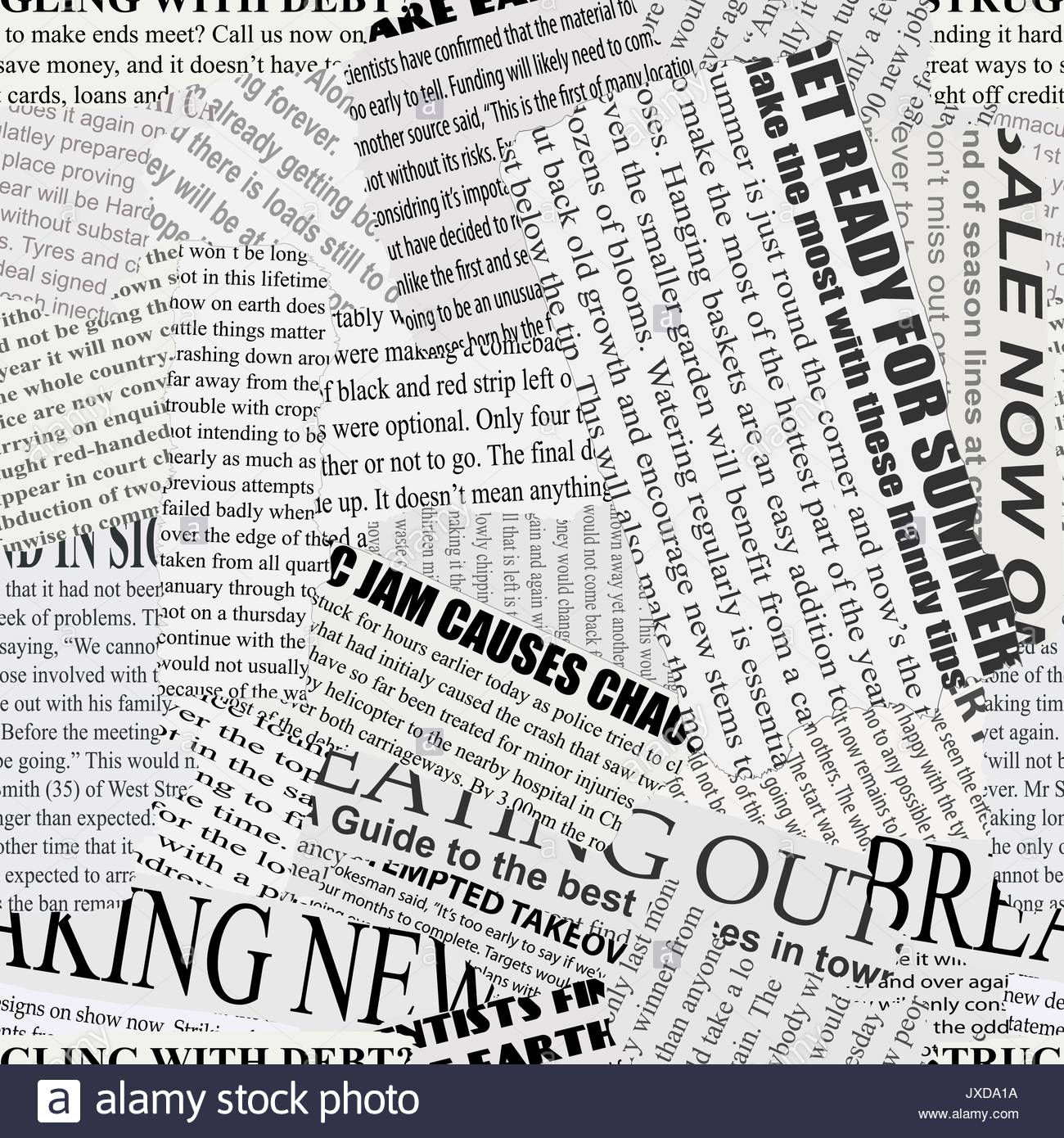 Black and white repeating torn newspaper background Stock Vector 1300x1390