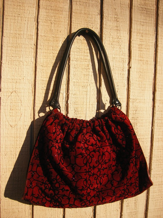 Items similar to Victorian wallpaper style suede bag with Swarovski 570x760