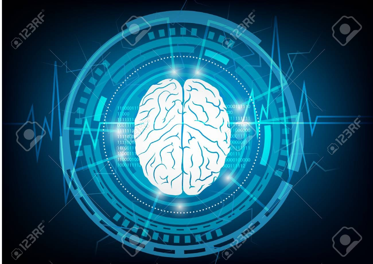 Abstract Brain Wave Concept On Blue Background Technology Royalty 1300x919