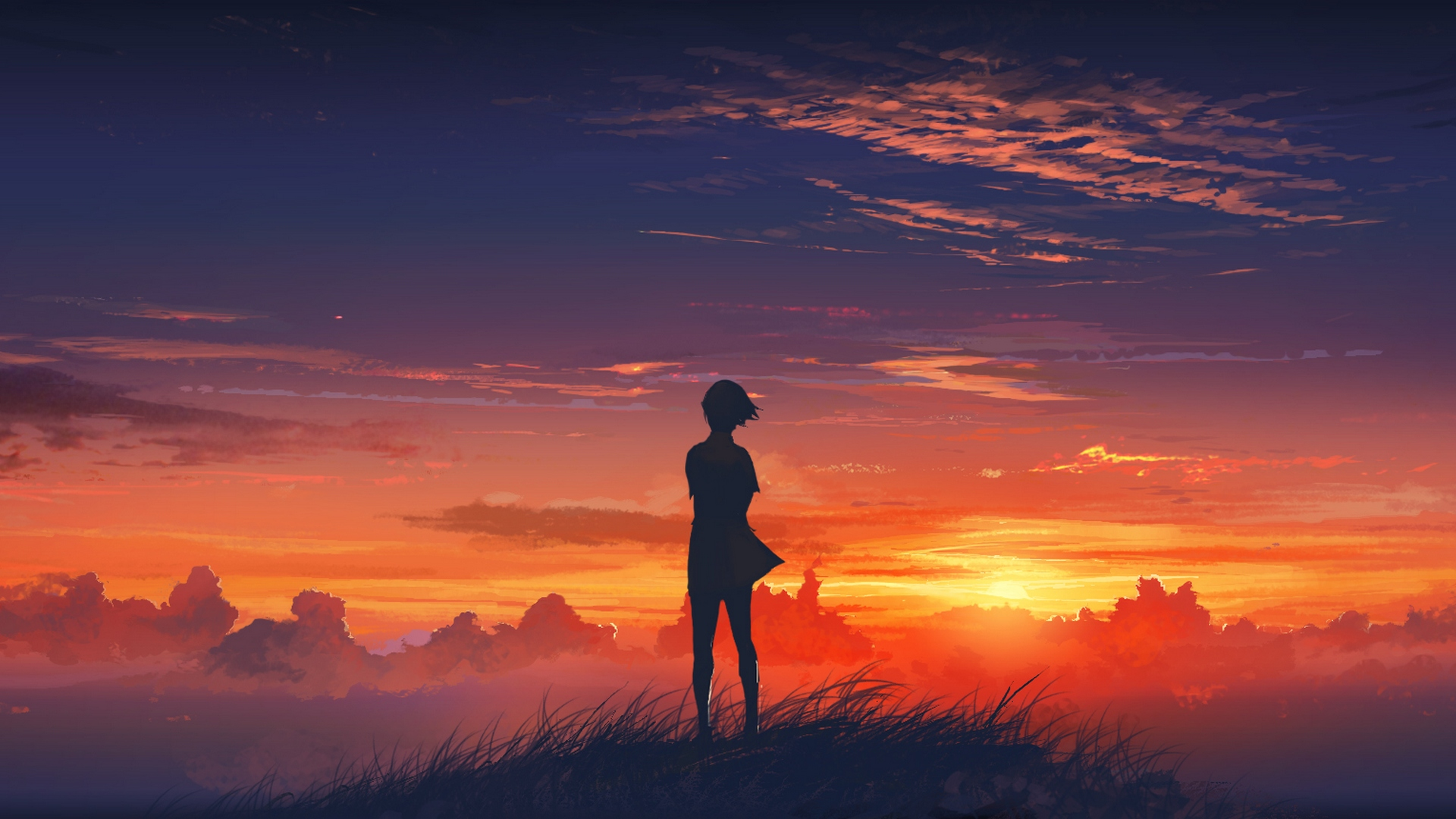Sunset View Anime HD wallpaper 1920x1080