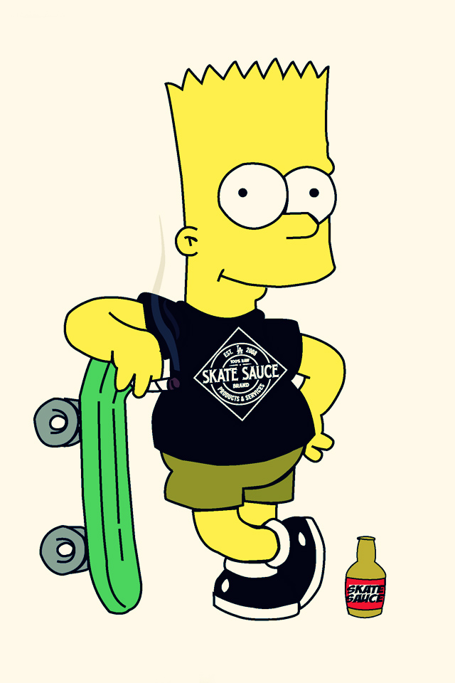 Wallpapers Bart Simpson Skateboarding Retina Background Pictures 640x960