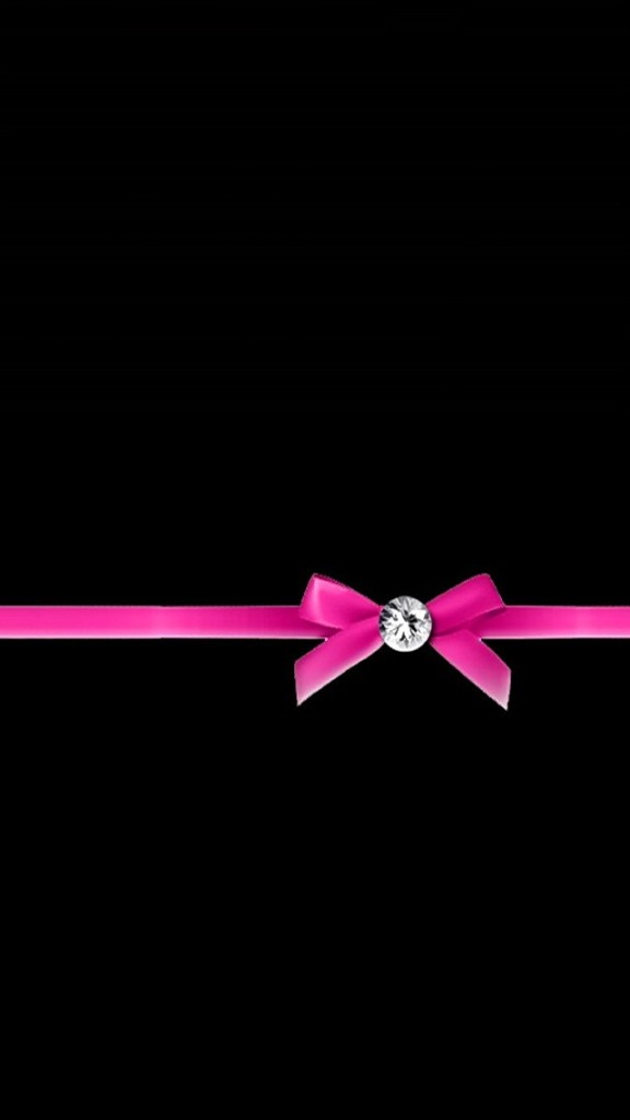 Diamond with Pink Ribbon Bow Wallpaper   iPhone Wallpapers 576x1024