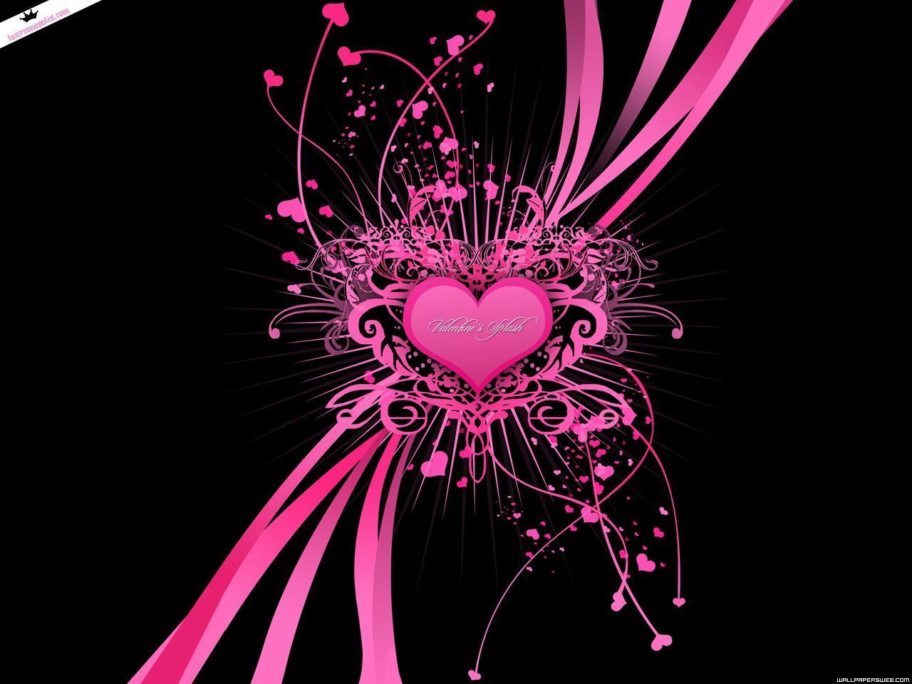 44 Pink And Black Heart Wallpaper On Wallpapersafari