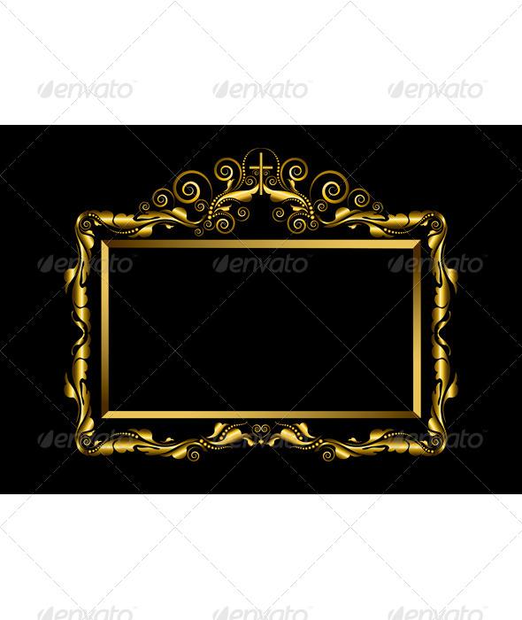 Luxury Gold Frame on Black Background   Borders Decorative 590x700