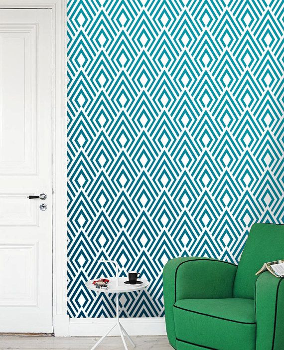 Removable self adhesive modern vinyl Wallpaper wall sticker   Ikat 570x702